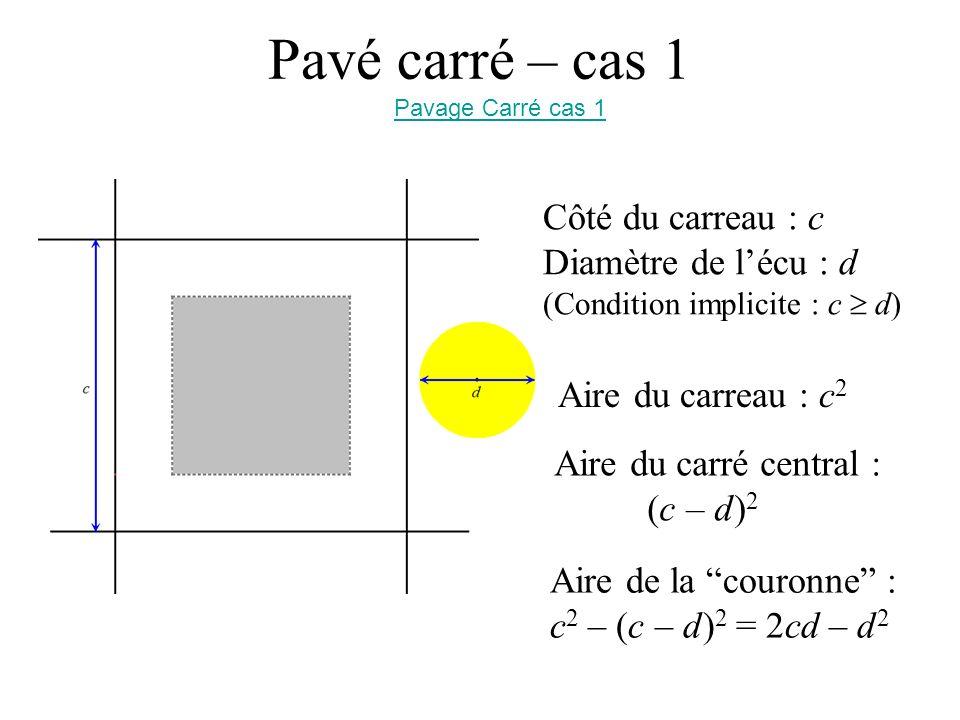 Pavé carré – cas 1 Côté du carreau : c Diamètre de l'écu : d
