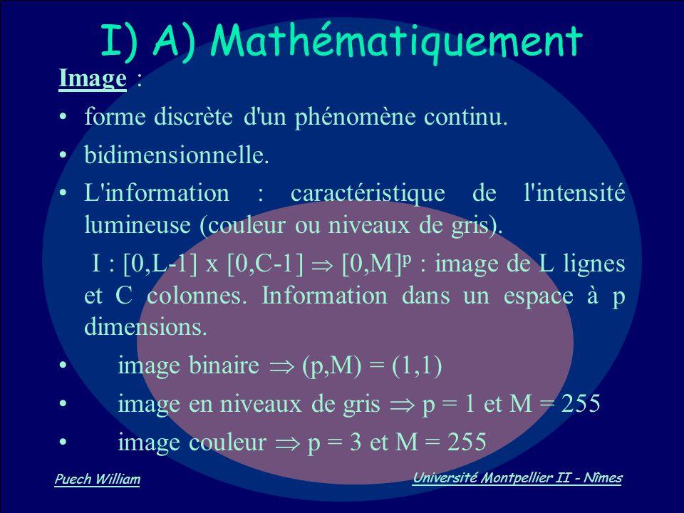 I) A) Mathématiquement