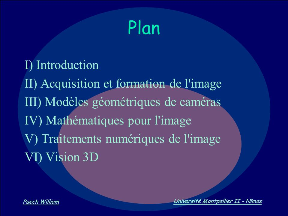 Plan I) Introduction II) Acquisition et formation de l image