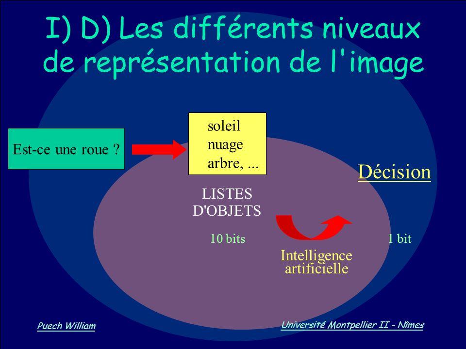I) D) Les différents niveaux de représentation de l image