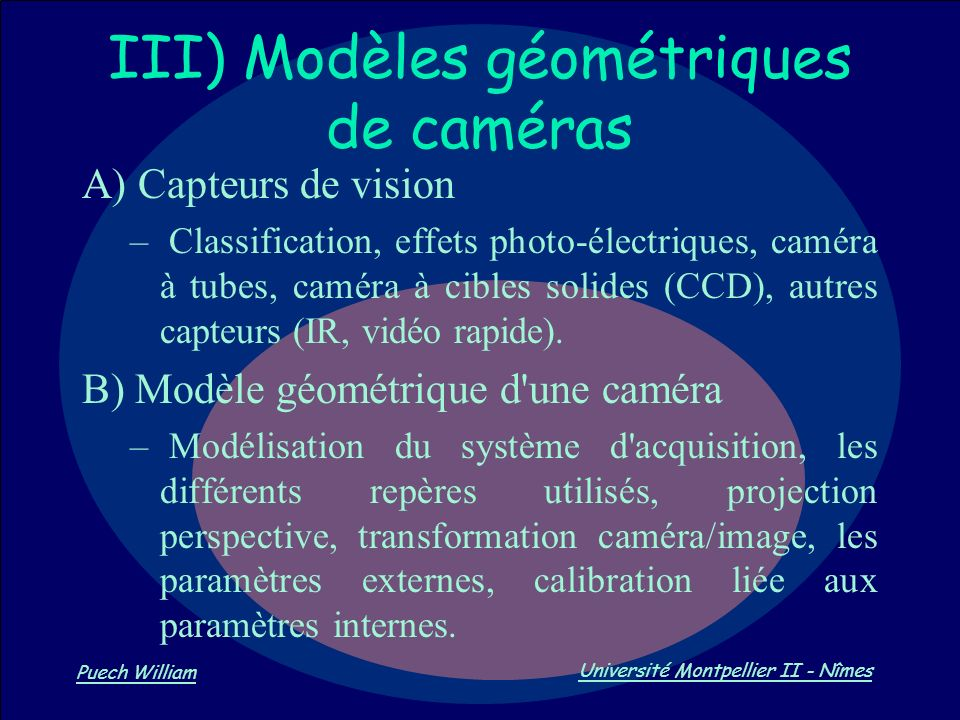 III) Modèles géométriques de caméras