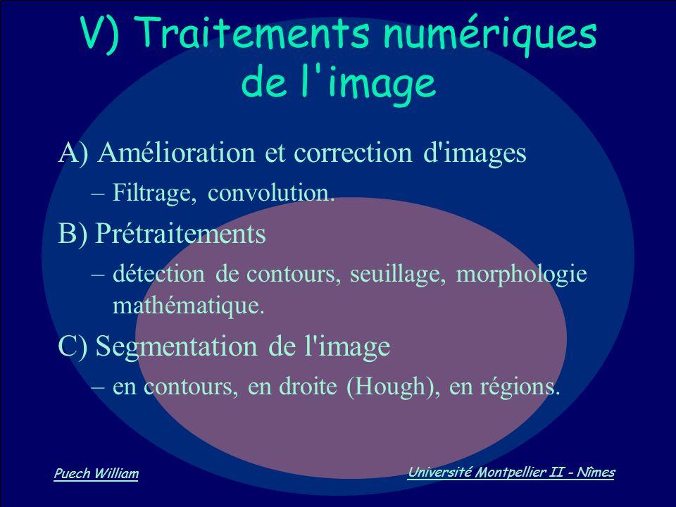 V) Traitements numériques de l image