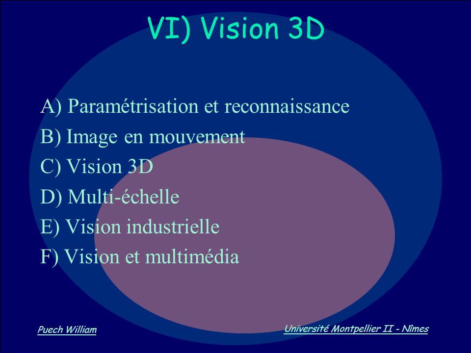 VI) Vision 3D A) Paramétrisation et reconnaissance