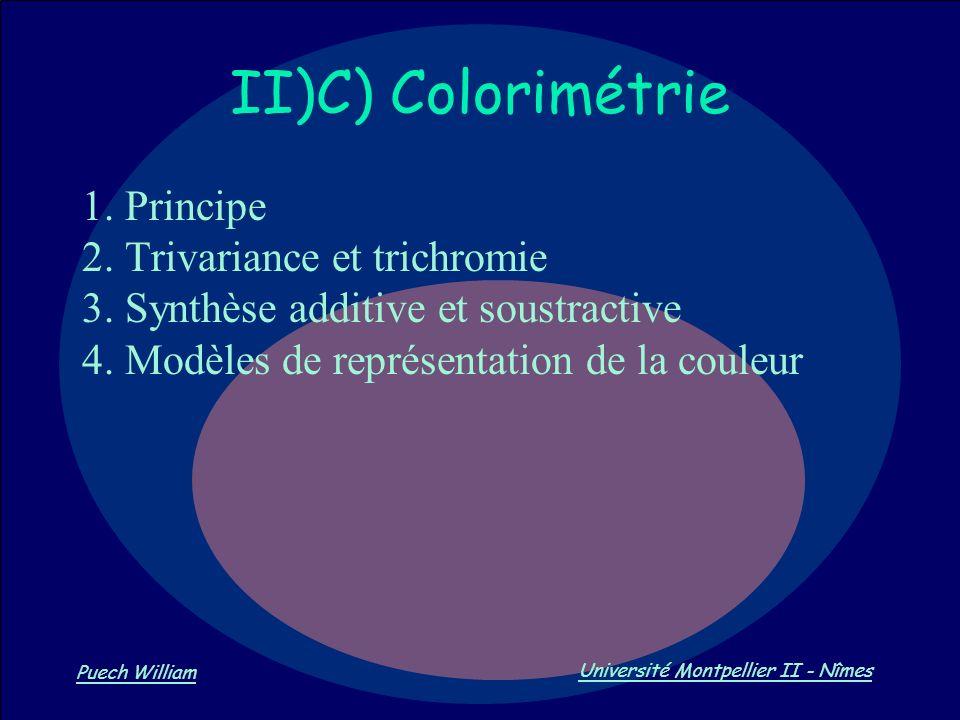 II)C) Colorimétrie 1. Principe 2. Trivariance et trichromie