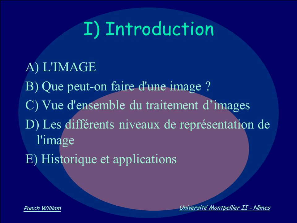 I) Introduction A) L IMAGE B) Que peut-on faire d une image