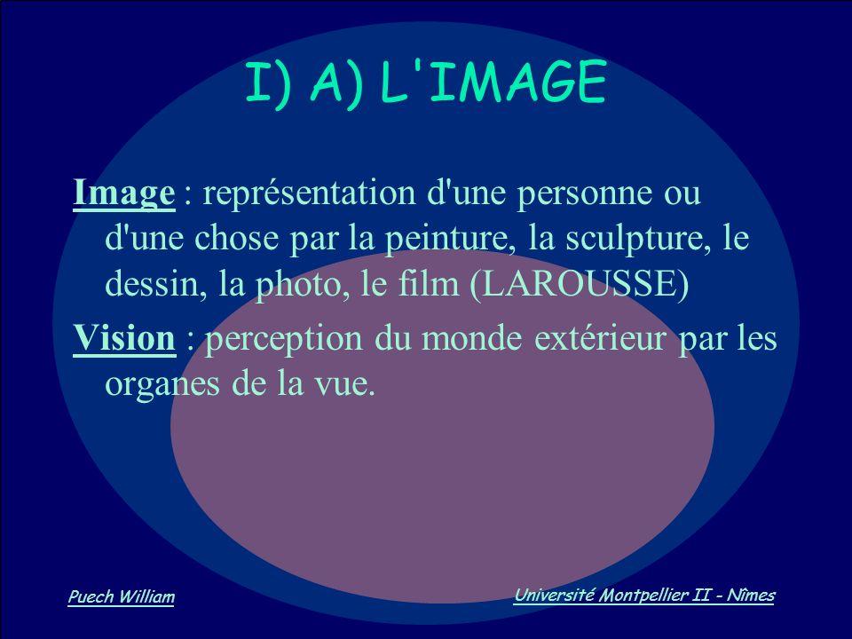 I) A) L IMAGE Image : représentation d une personne ou d une chose par la peinture, la sculpture, le dessin, la photo, le film (LAROUSSE)