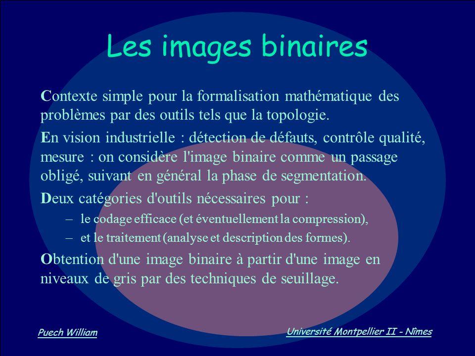 Les images binaires Contexte simple pour la formalisation mathématique des problèmes par des outils tels que la topologie.