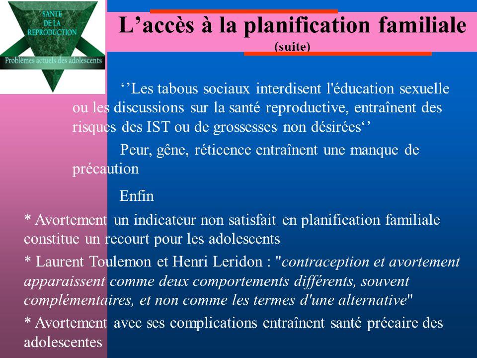 L'accès à la planification familiale (suite)