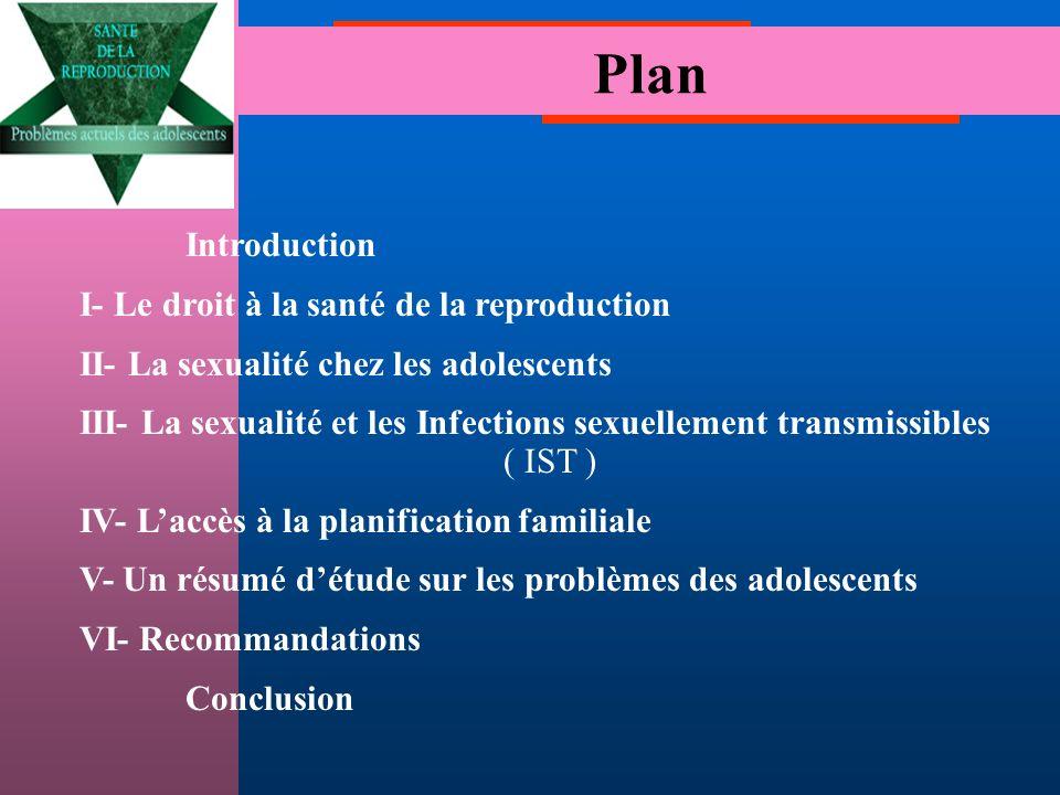 Plan Introduction I- Le droit à la santé de la reproduction