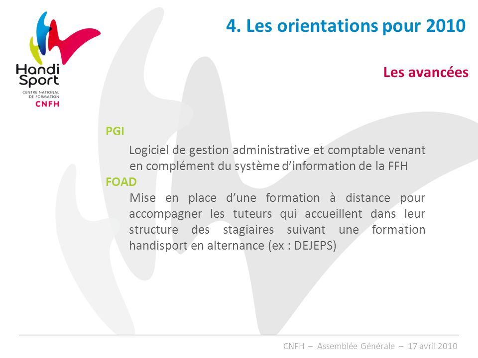 4. Les orientations pour 2010 Les avancées PGI