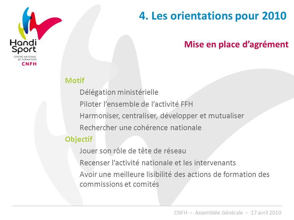 4. Les orientations pour 2010 Mise en place d'agrément Motif