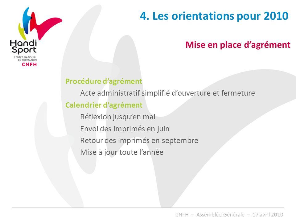 4. Les orientations pour 2010 Mise en place d'agrément