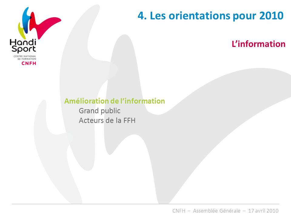 4. Les orientations pour 2010 L'information