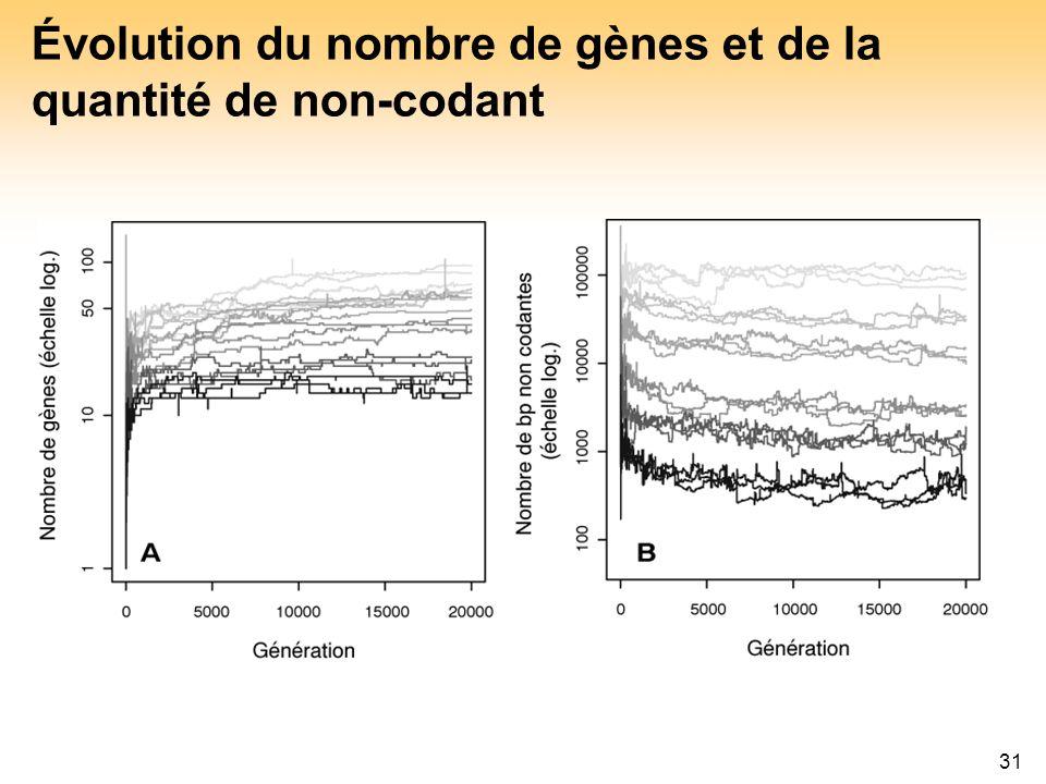 Évolution du nombre de gènes et de la quantité de non-codant