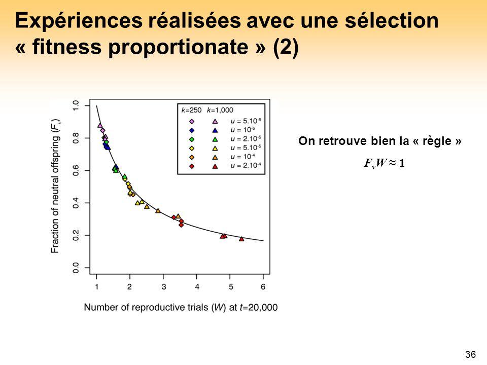 Expériences réalisées avec une sélection « fitness proportionate » (2)