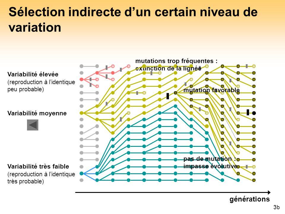 Sélection indirecte d'un certain niveau de variation