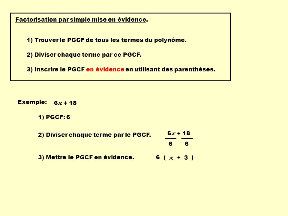 Factorisation par simple mise en évidence.