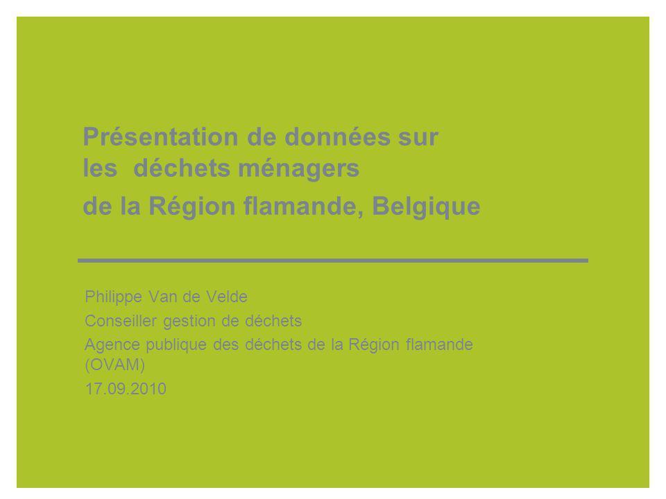 Présentation de données sur les déchets ménagers de la Région flamande, Belgique