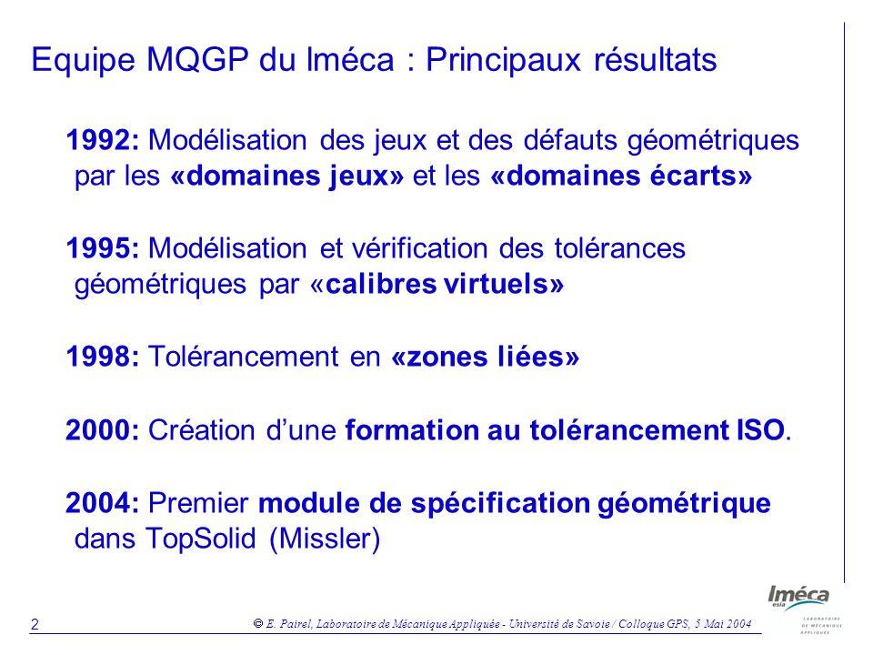 Equipe MQGP du lméca : Principaux résultats