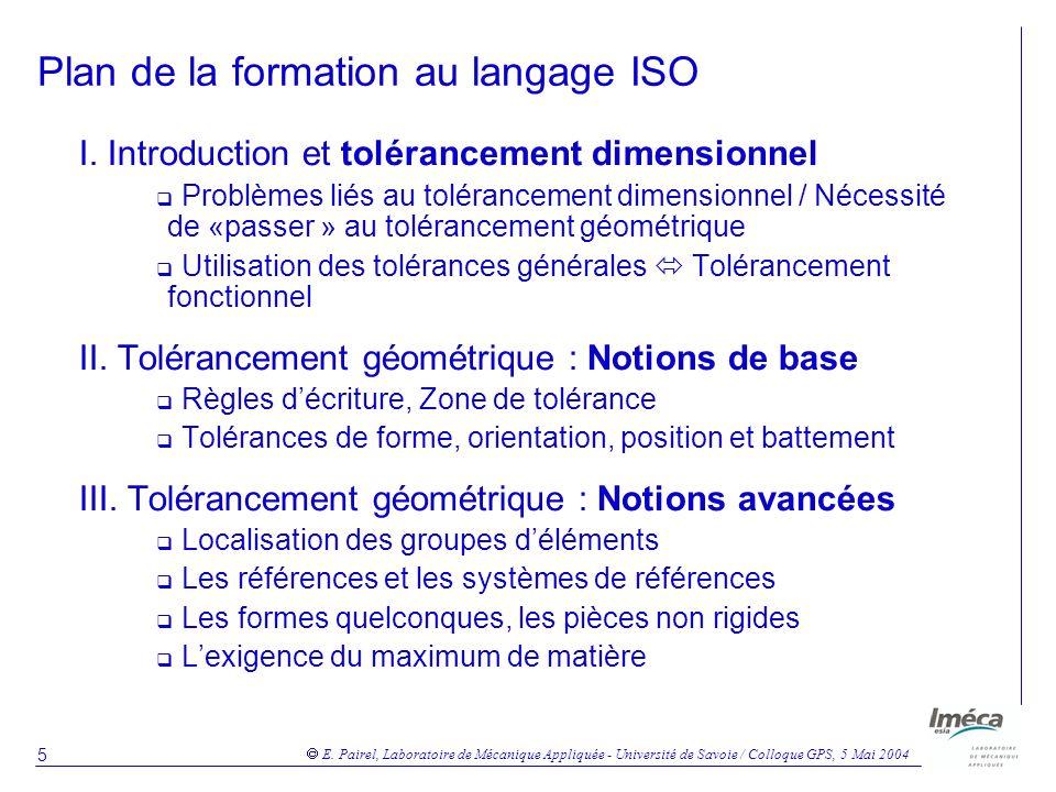 Plan de la formation au langage ISO