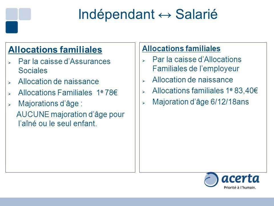 Indépendant ↔ Salarié Allocations familiales Allocations familiales