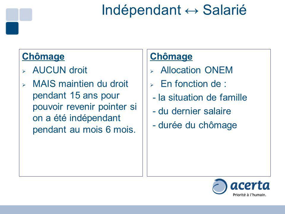 Indépendant ↔ Salarié Chômage AUCUN droit