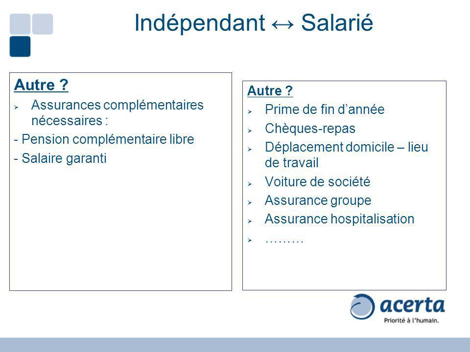 Indépendant ↔ Salarié Autre Autre