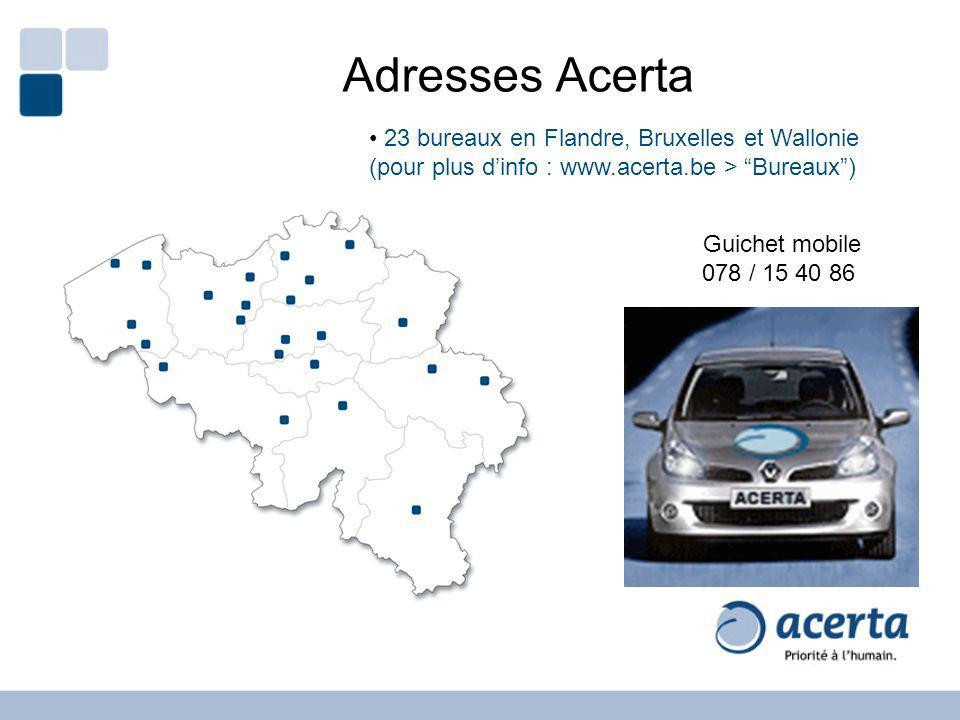 Adresses Acerta 23 bureaux en Flandre, Bruxelles et Wallonie (pour plus d'info : www.acerta.be > Bureaux )