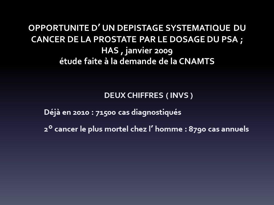 OPPORTUNITE D' UN DEPISTAGE SYSTEMATIQUE DU CANCER DE LA PROSTATE PAR LE DOSAGE DU PSA ; HAS , janvier 2009 étude faite à la demande de la CNAMTS