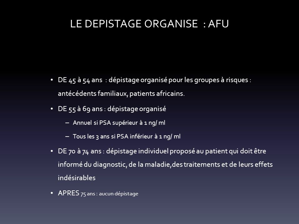 LE DEPISTAGE ORGANISE : AFU