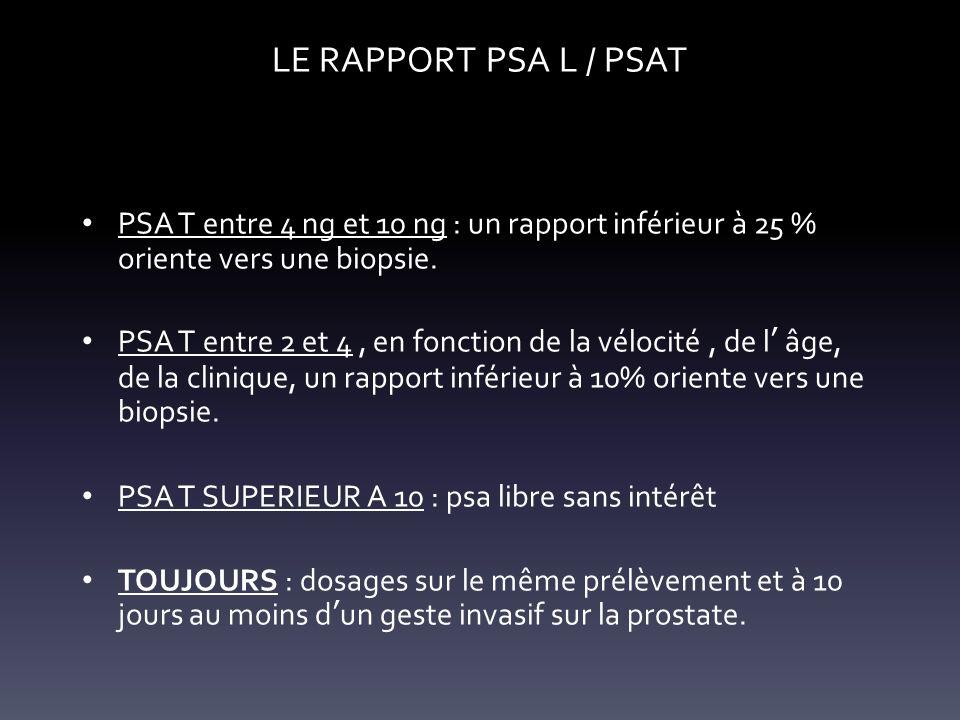LE RAPPORT PSA L / PSAT PSA T entre 4 ng et 10 ng : un rapport inférieur à 25 % oriente vers une biopsie.