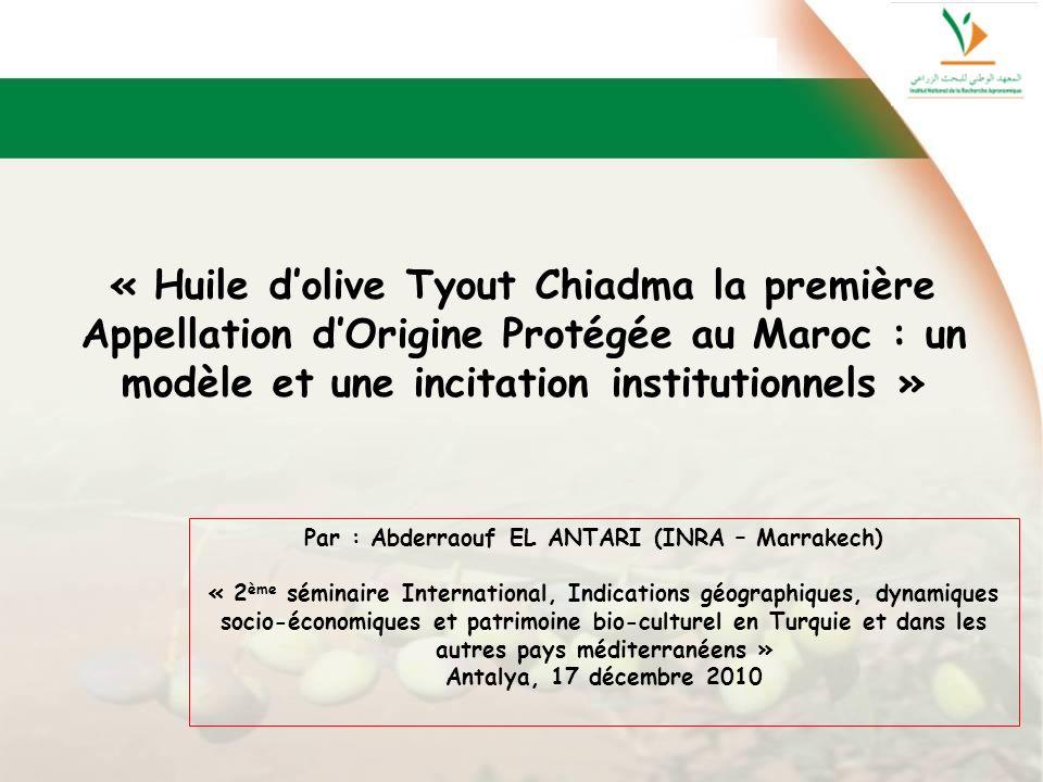 « Huile d'olive Tyout Chiadma la première Appellation d'Origine Protégée au Maroc : un modèle et une incitation institutionnels »