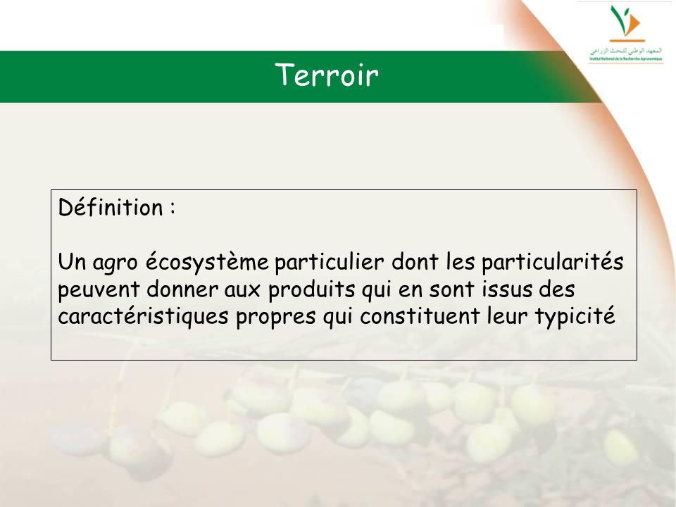 Terroir Définition : Un agro écosystème particulier dont les particularités. peuvent donner aux produits qui en sont issus des.