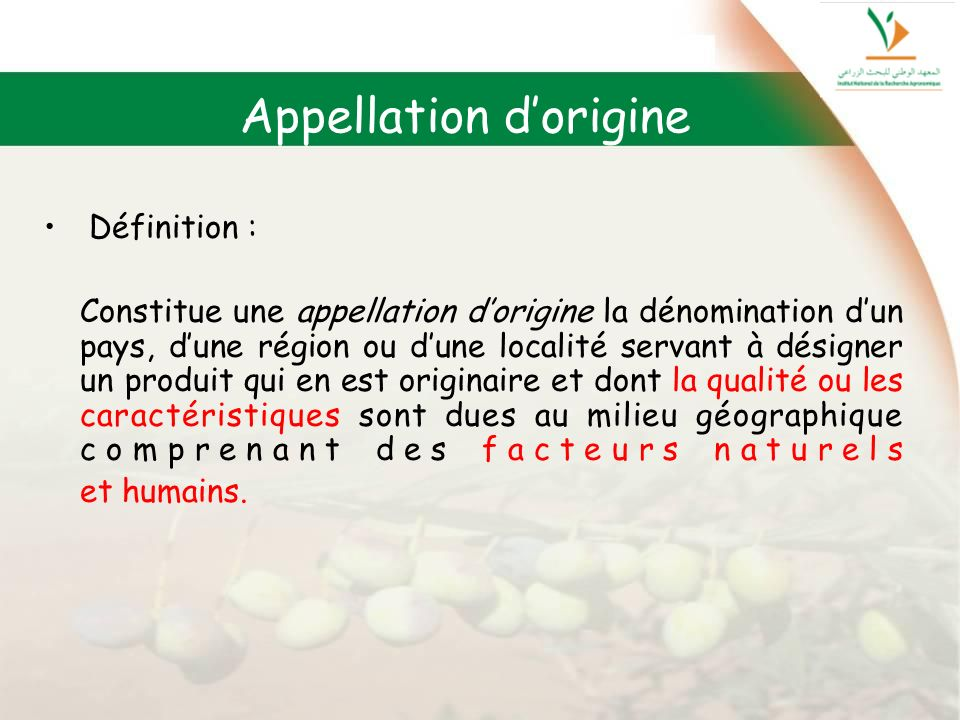 Appellation d'origine