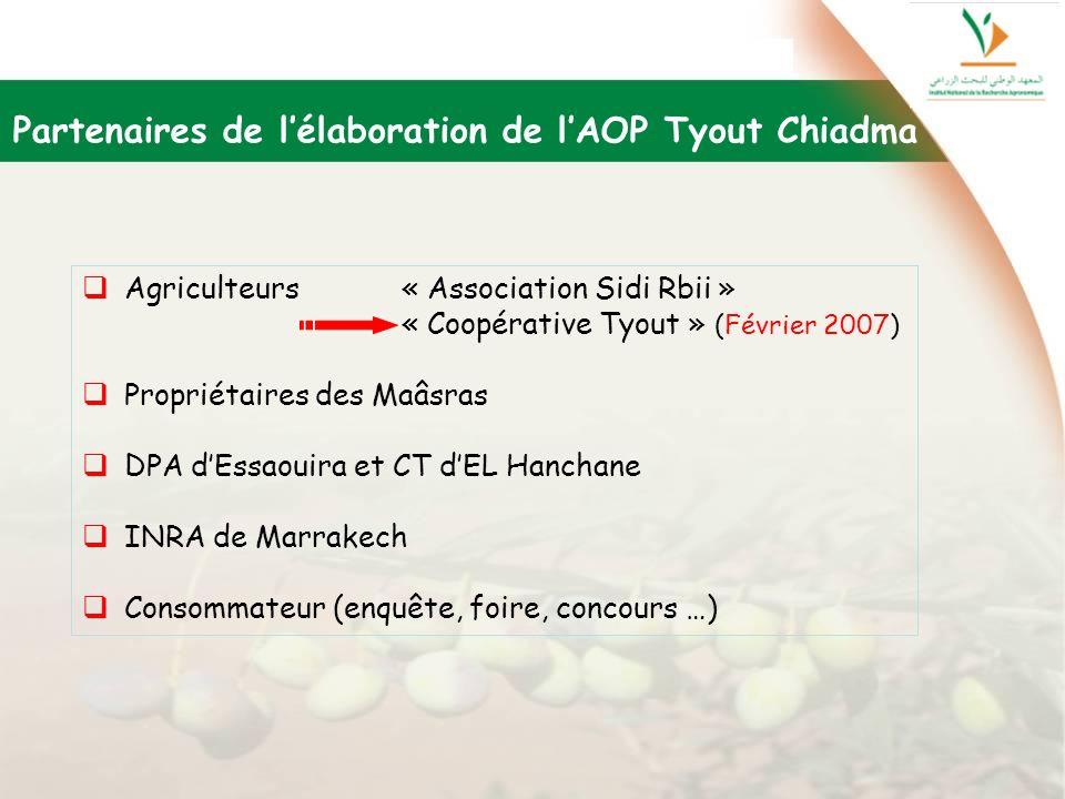 Partenaires de l'élaboration de l'AOP Tyout Chiadma