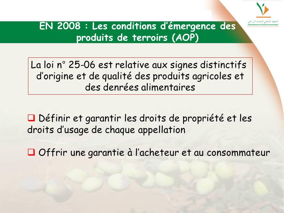 EN 2008 : Les conditions d'émergence des produits de terroirs (AOP)