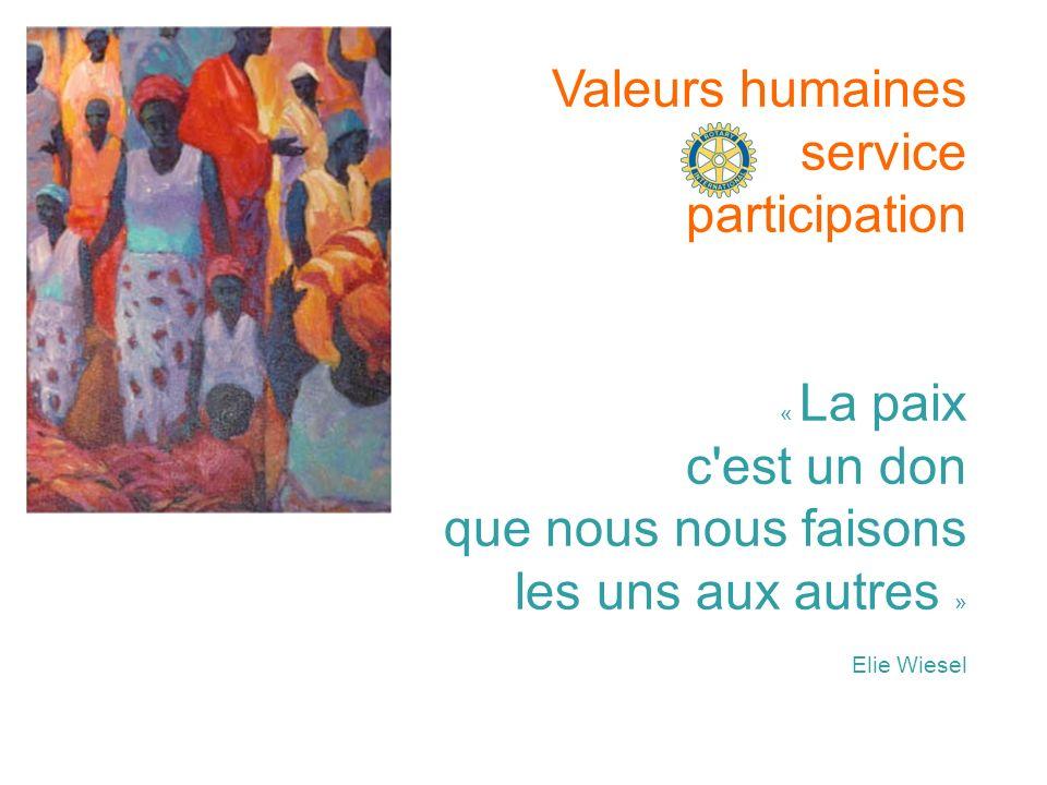 Valeurs humaines service participation « La paix c est un don que nous nous faisons les uns aux autres » Elie Wiesel