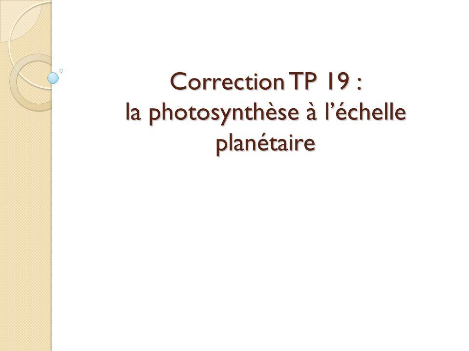 Correction TP 19 : la photosynthèse à l'échelle planétaire