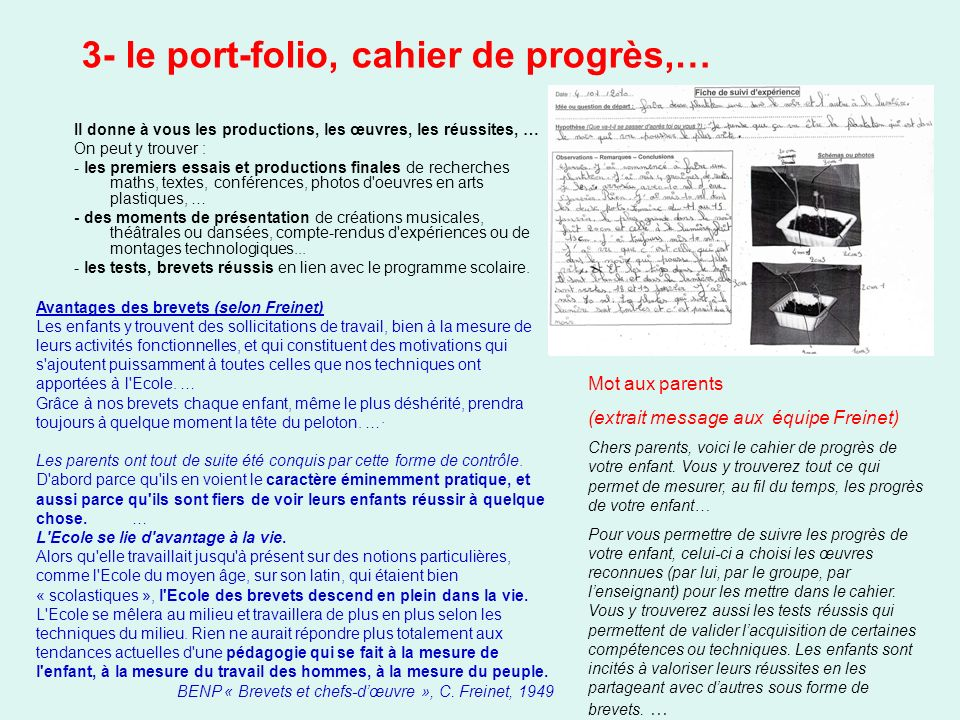 3- le port-folio, cahier de progrès,…