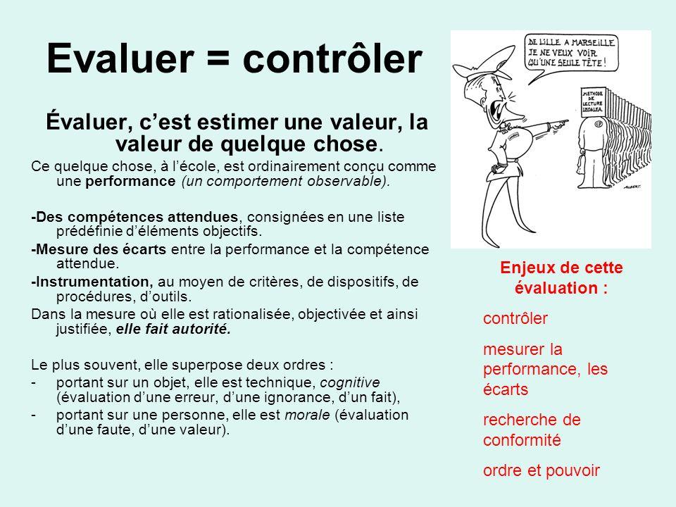 Evaluer = contrôler Évaluer, c'est estimer une valeur, la valeur de quelque chose.