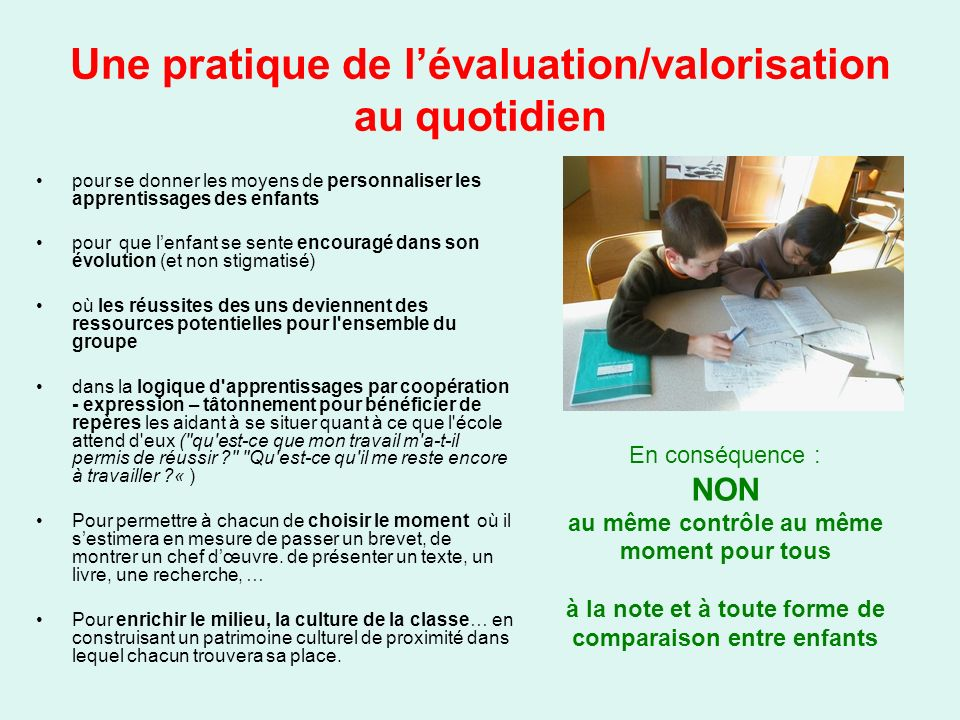 Une pratique de l'évaluation/valorisation au quotidien