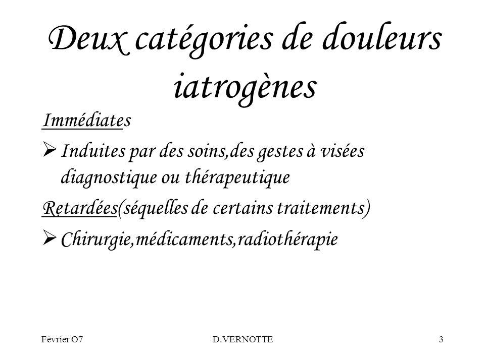 Deux catégories de douleurs iatrogènes