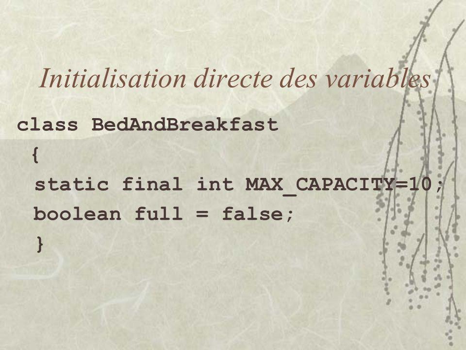 Initialisation directe des variables