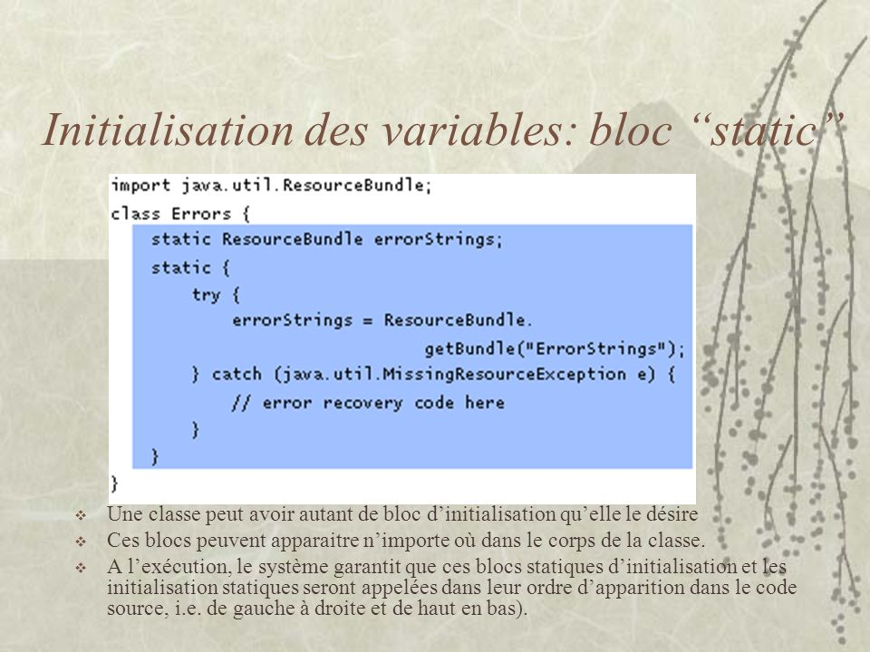 Initialisation des variables: bloc static