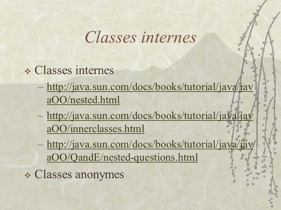 Classes internes Classes internes Classes anonymes