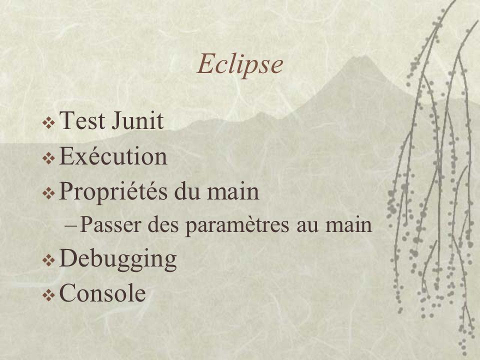 Eclipse Test Junit Exécution Propriétés du main Debugging Console