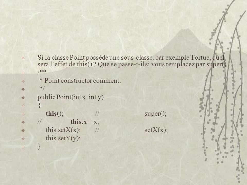 Si la classe Point possède une sous-classe, par exemple Tortue, quel sera l'effet de this() Que se passe-t-il si vous remplacez par super()