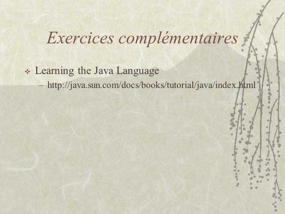 Exercices complémentaires
