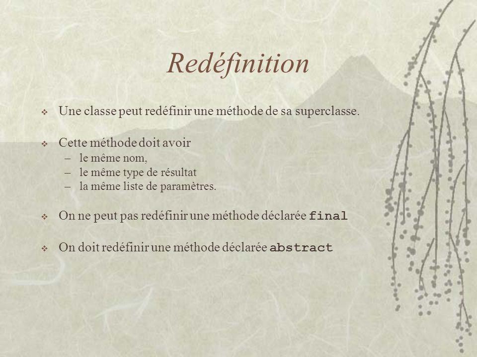Redéfinition Une classe peut redéfinir une méthode de sa superclasse.