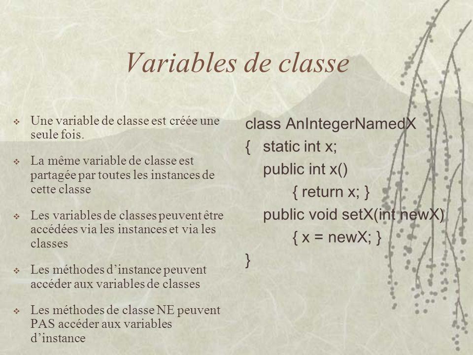 Variables de classe class AnIntegerNamedX { static int x;